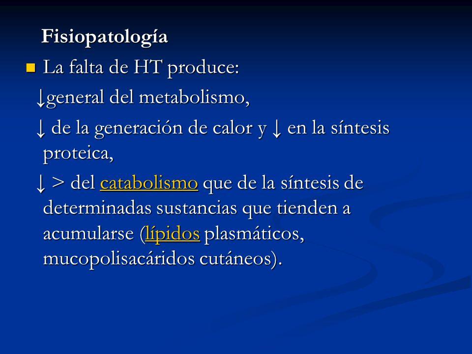 Fisiopatología Fisiopatología La falta de HT produce: La falta de HT produce: general del metabolismo, general del metabolismo, de la generación de calor y en la síntesis proteica, de la generación de calor y en la síntesis proteica, > del catabolismo que de la síntesis de determinadas sustancias que tienden a acumularse (lípidos plasmáticos, mucopolisacáridos cutáneos).