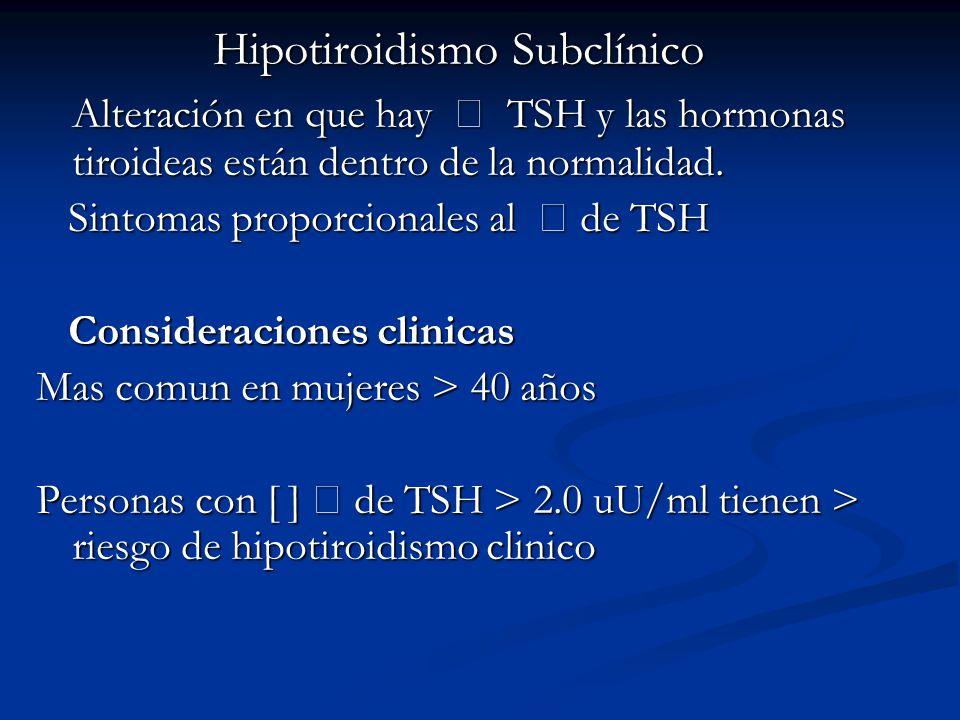 Hipotiroidismo Subclínico Alteración en que hay TSH y las hormonas tiroideas están dentro de la normalidad.