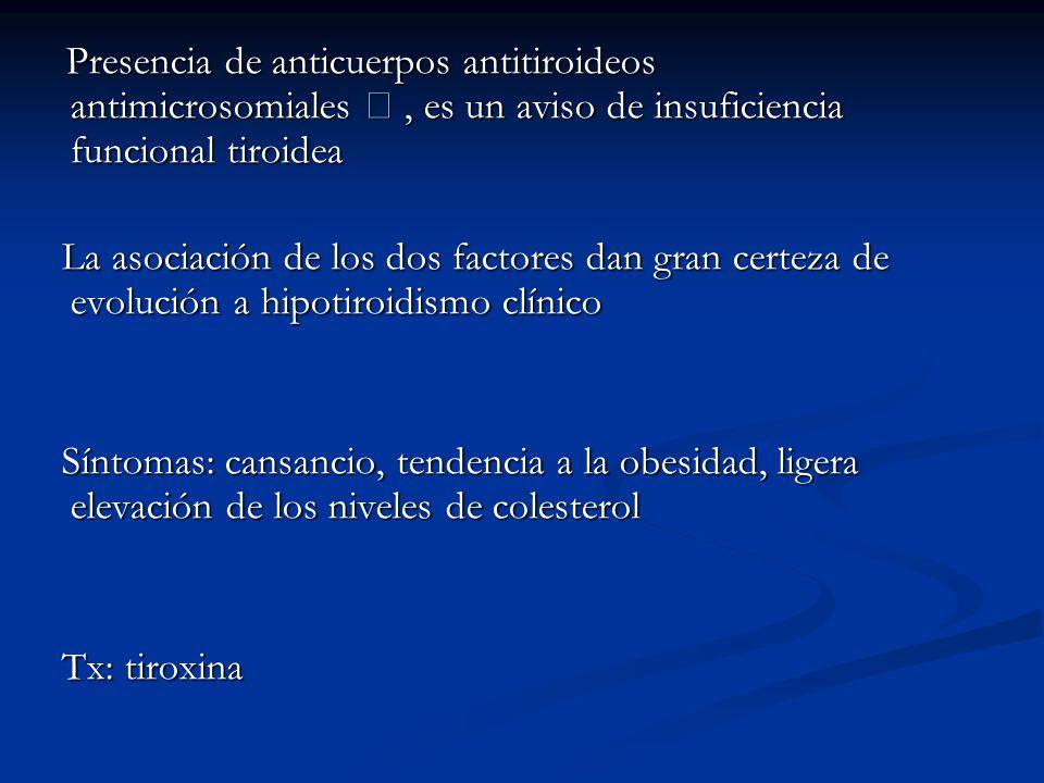 Presencia de anticuerpos antitiroideos antimicrosomiales, es un aviso de insuficiencia funcional tiroidea Presencia de anticuerpos antitiroideos antimicrosomiales, es un aviso de insuficiencia funcional tiroidea La asociación de los dos factores dan gran certeza de evolución a hipotiroidismo clínico La asociación de los dos factores dan gran certeza de evolución a hipotiroidismo clínico Síntomas: cansancio, tendencia a la obesidad, ligera elevación de los niveles de colesterol Síntomas: cansancio, tendencia a la obesidad, ligera elevación de los niveles de colesterol Tx: tiroxina Tx: tiroxina