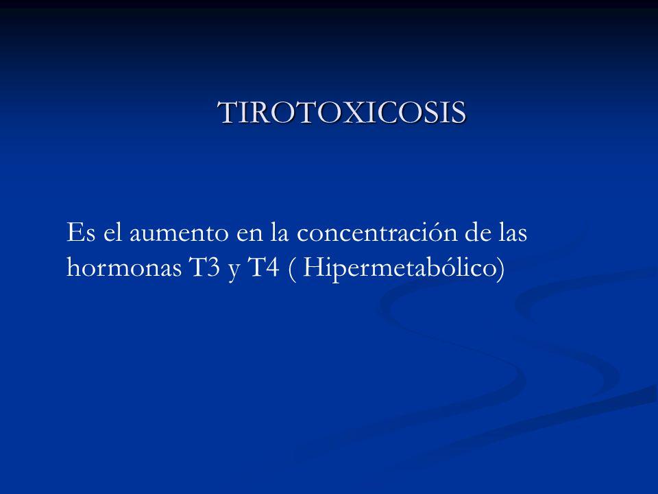 TIROTOXICOSIS TIROTOXICOSIS Es el aumento en la concentración de las hormonas T3 y T4 ( Hipermetabólico)