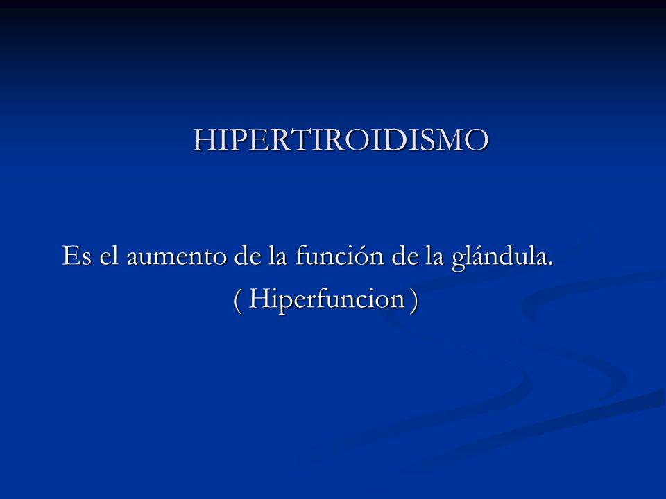 HIPERTIROIDISMO HIPERTIROIDISMO Es el aumento de la función de la glándula. Es el aumento de la función de la glándula. ( Hiperfuncion ) ( Hiperfuncio
