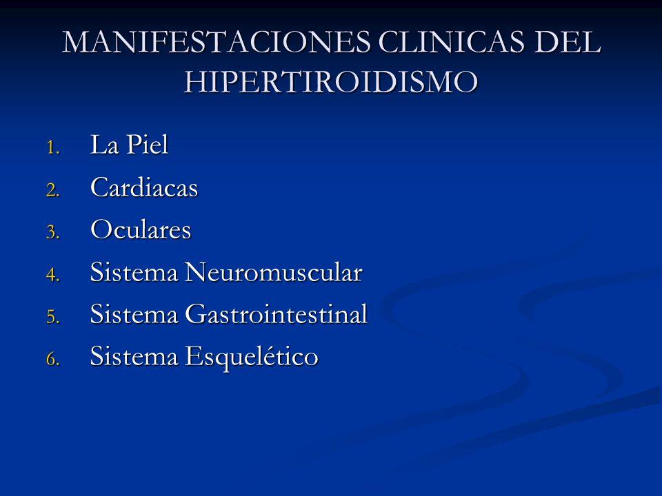 MANIFESTACIONES CLINICAS DEL HIPERTIROIDISMO 1. La Piel 2. Cardiacas 3. Oculares 4. Sistema Neuromuscular 5. Sistema Gastrointestinal 6. Sistema Esque