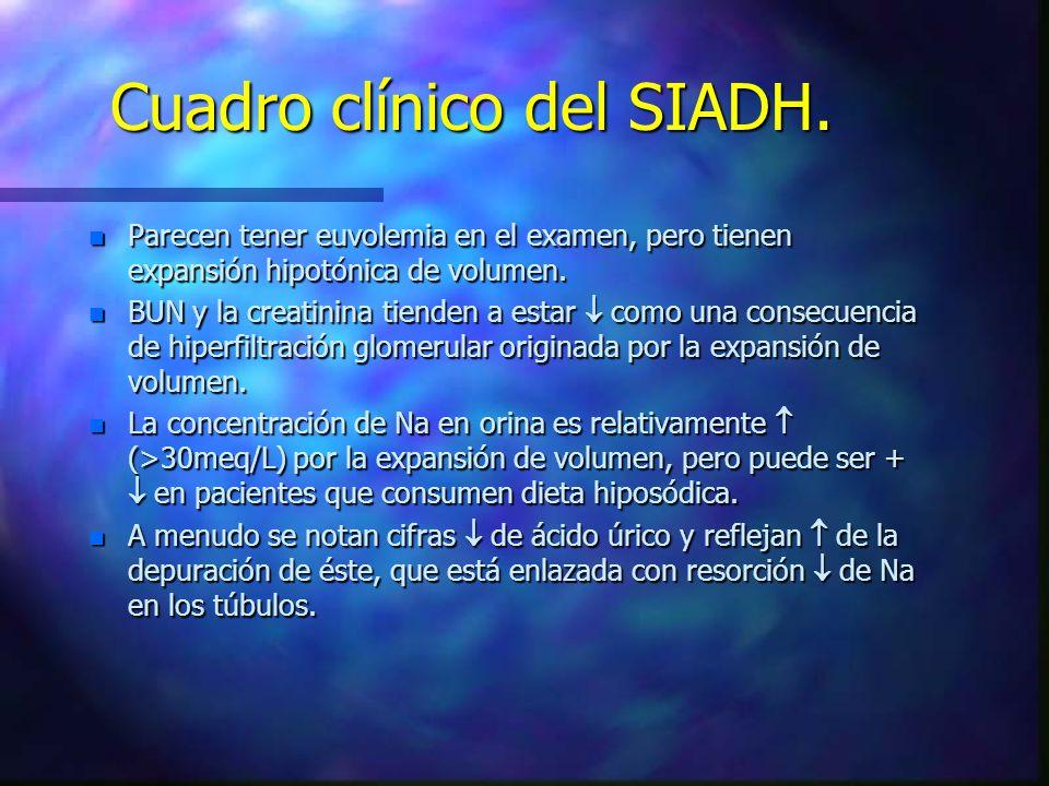 Cuadro clínico del SIADH. n Parecen tener euvolemia en el examen, pero tienen expansión hipotónica de volumen. n BUN y la creatinina tienden a estar c