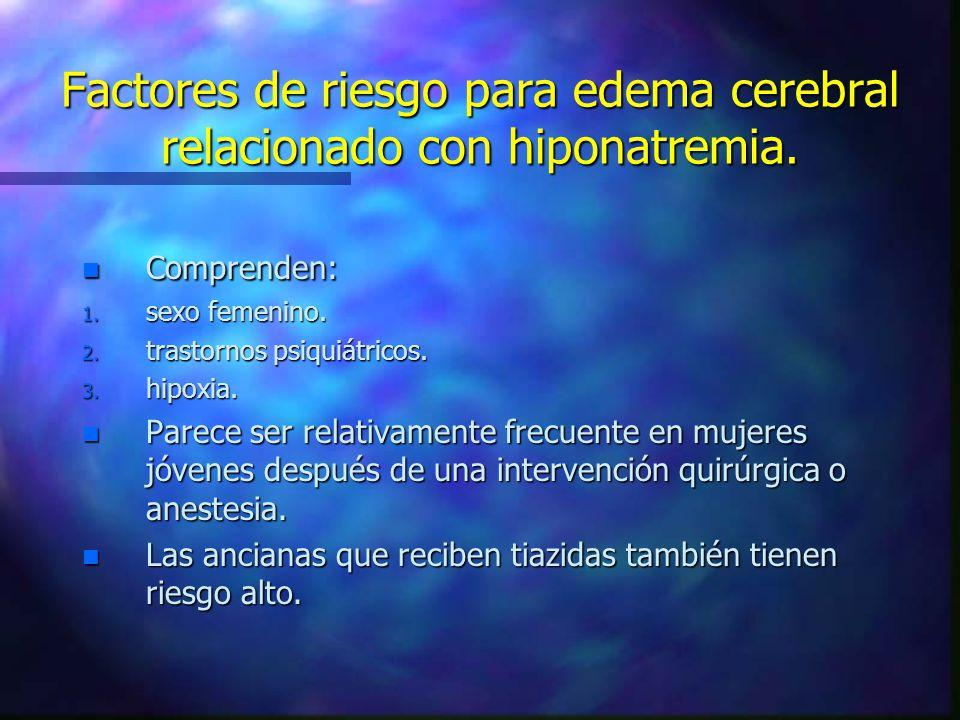 Factores de riesgo para edema cerebral relacionado con hiponatremia. n Comprenden: 1. sexo femenino. 2. trastornos psiquiátricos. 3. hipoxia. n Parece