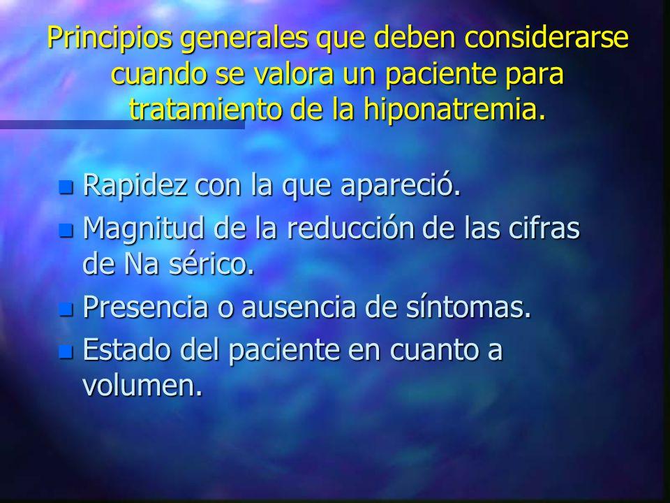 Principios generales que deben considerarse cuando se valora un paciente para tratamiento de la hiponatremia. n Rapidez con la que apareció. n Magnitu