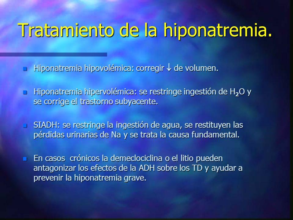 Tratamiento de la hiponatremia. n Hiponatremia hipovolémica: corregir de volumen. n Hiponatremia hipervolémica: se restringe ingestión de H 2 O y se c