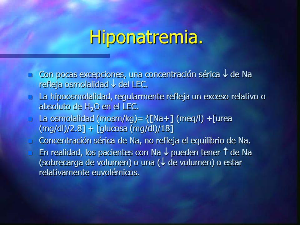 Hiponatremia. n Con pocas excepciones, una concentración sérica de Na refleja osmolalidad del LEC. n La hipoosmolalidad, regularmente refleja un exces