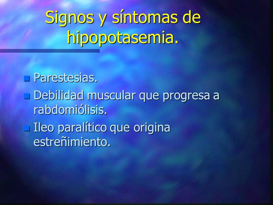 Signos y síntomas de hipopotasemia. n Parestesias. n Debilidad muscular que progresa a rabdomiólisis. n Ileo paralítico que origina estreñimiento.