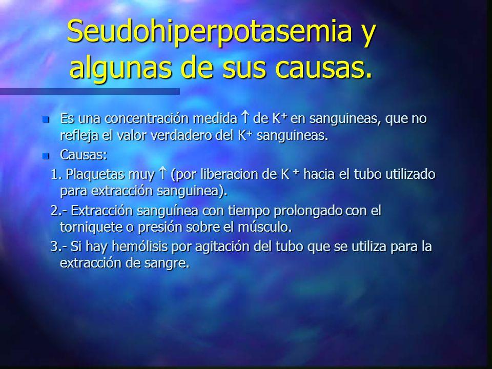 Seudohiperpotasemia y algunas de sus causas. n Es una concentración medida de K + en sanguineas, que no refleja el valor verdadero del K + sanguineas.
