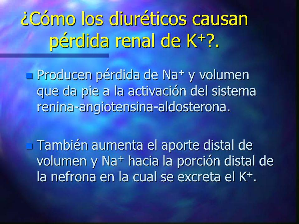 ¿Cómo los diuréticos causan pérdida renal de K + ?. n Producen pérdida de Na + y volumen que da pie a la activación del sistema renina-angiotensina-al