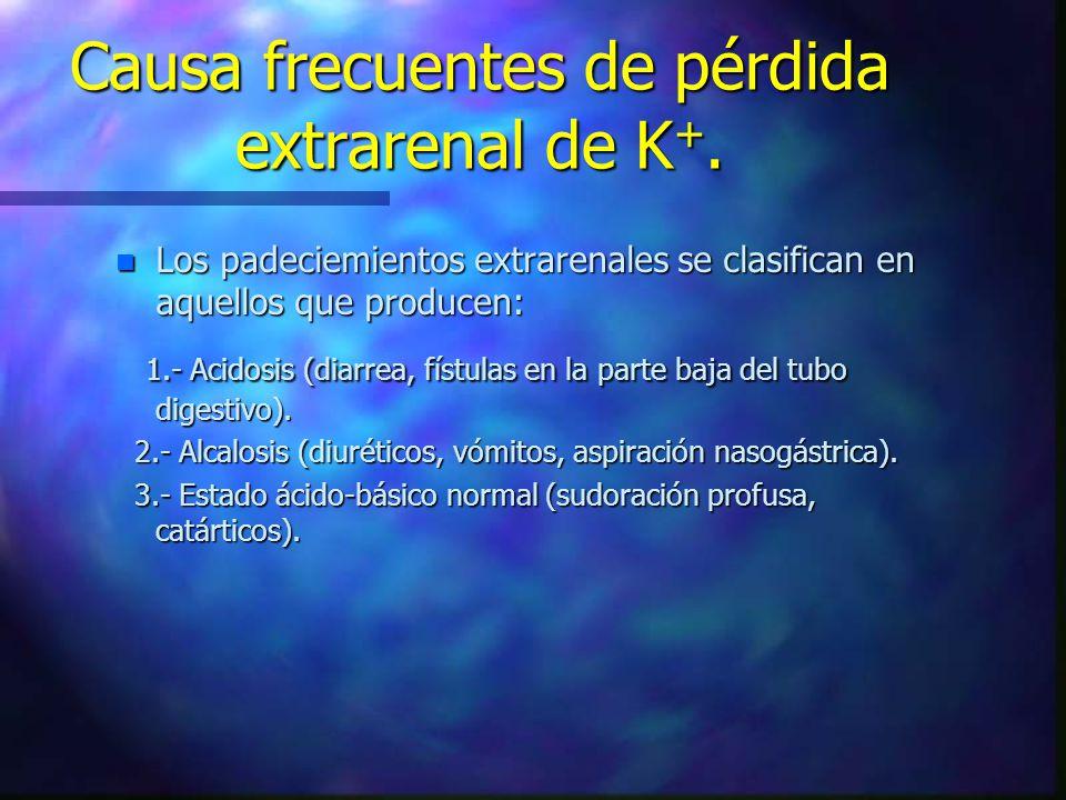 Causa frecuentes de pérdida extrarenal de K +. n Los padeciemientos extrarenales se clasifican en aquellos que producen: 1.- Acidosis (diarrea, fístul