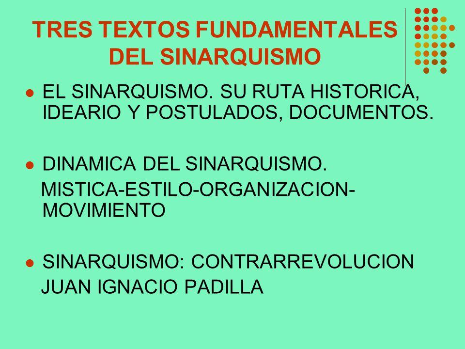 TRES TEXTOS FUNDAMENTALES DEL SINARQUISMO EL SINARQUISMO. SU RUTA HISTORICA, IDEARIO Y POSTULADOS, DOCUMENTOS. DINAMICA DEL SINARQUISMO. MISTICA-ESTIL
