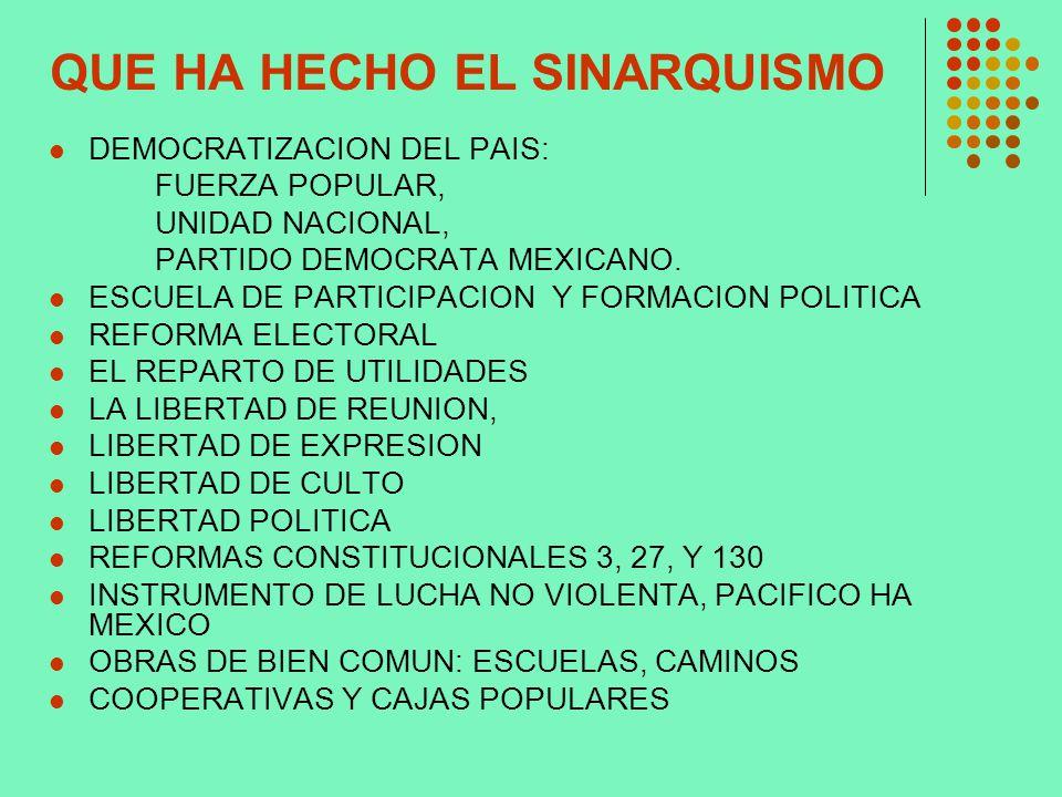 QUE HA HECHO EL SINARQUISMO DEMOCRATIZACION DEL PAIS: FUERZA POPULAR, UNIDAD NACIONAL, PARTIDO DEMOCRATA MEXICANO. ESCUELA DE PARTICIPACION Y FORMACIO