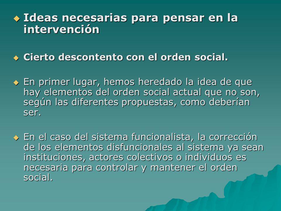 Ideas necesarias para pensar en la intervención Ideas necesarias para pensar en la intervención Cierto descontento con el orden social. Cierto descont