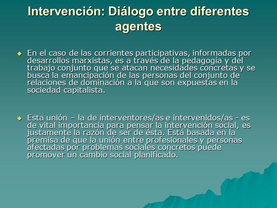 Intervención: Diálogo entre diferentes agentes En el caso de las corrientes participativas, informadas por desarrollos marxistas, es a través de la pe