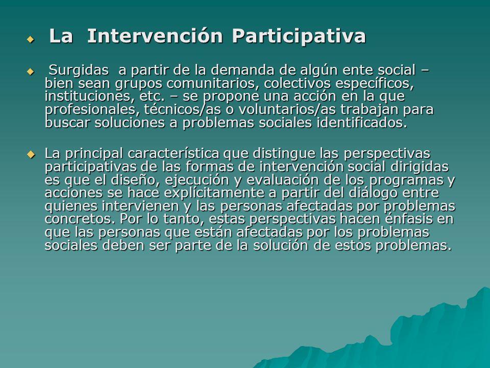 La Intervención Participativa La Intervención Participativa Surgidas a partir de la demanda de algún ente social – bien sean grupos comunitarios, cole