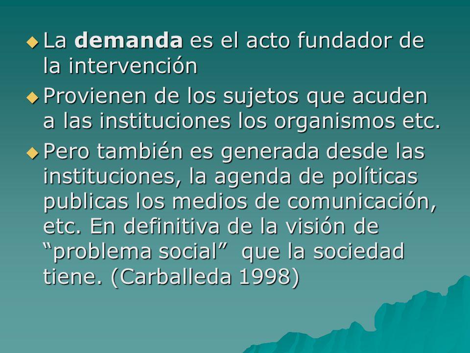 La demanda es el acto fundador de la intervención La demanda es el acto fundador de la intervención Provienen de los sujetos que acuden a las instituc