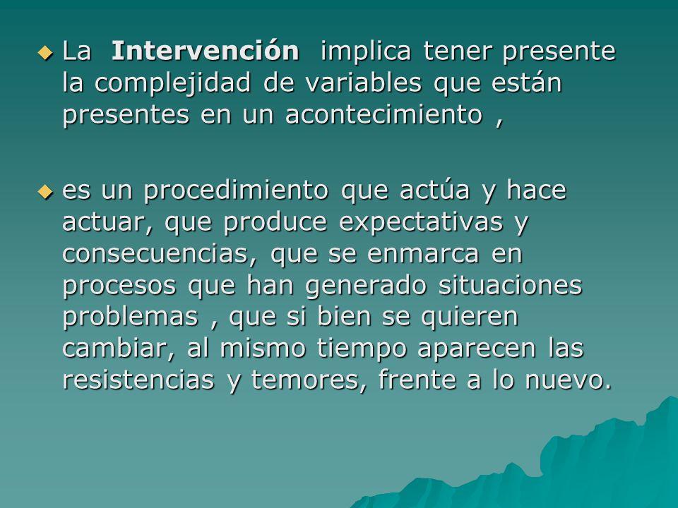 La Intervención implica tener presente la complejidad de variables que están presentes en un acontecimiento, La Intervención implica tener presente la