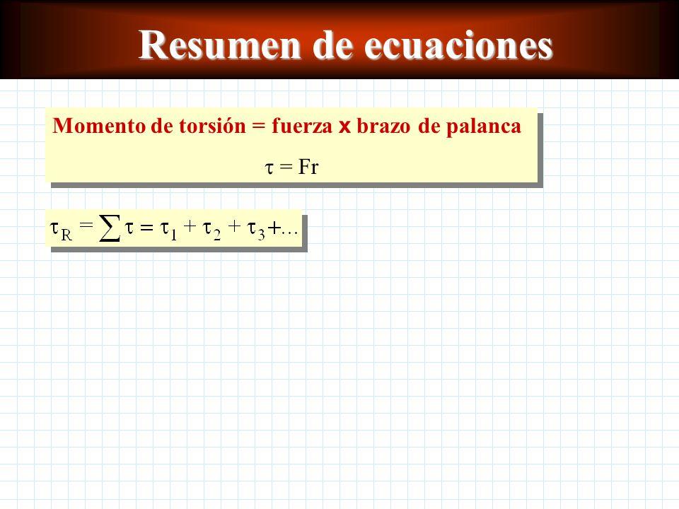 Conceptos clave Línea de acciónLínea de acción Eje de rotaciónEje de rotación Brazo de palancaBrazo de palanca Momento de torsiónMomento de torsión Momento de torsión resultanteMomento de torsión resultante Equilibrio rotacionalEquilibrio rotacional Equilibrio totalEquilibrio total Centro de gravedadCentro de gravedad