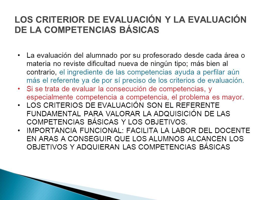 LOS CRITERIOR DE EVALUACIÓN Y LA EVALUACIÓN DE LA COMPETENCIAS BÁSICAS La evaluación del alumnado por su profesorado desde cada área o materia no revi