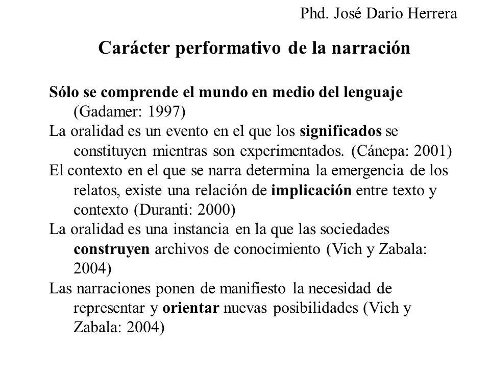 Carácter performativo de la narración Sólo se comprende el mundo en medio del lenguaje (Gadamer: 1997) La oralidad es un evento en el que los signific