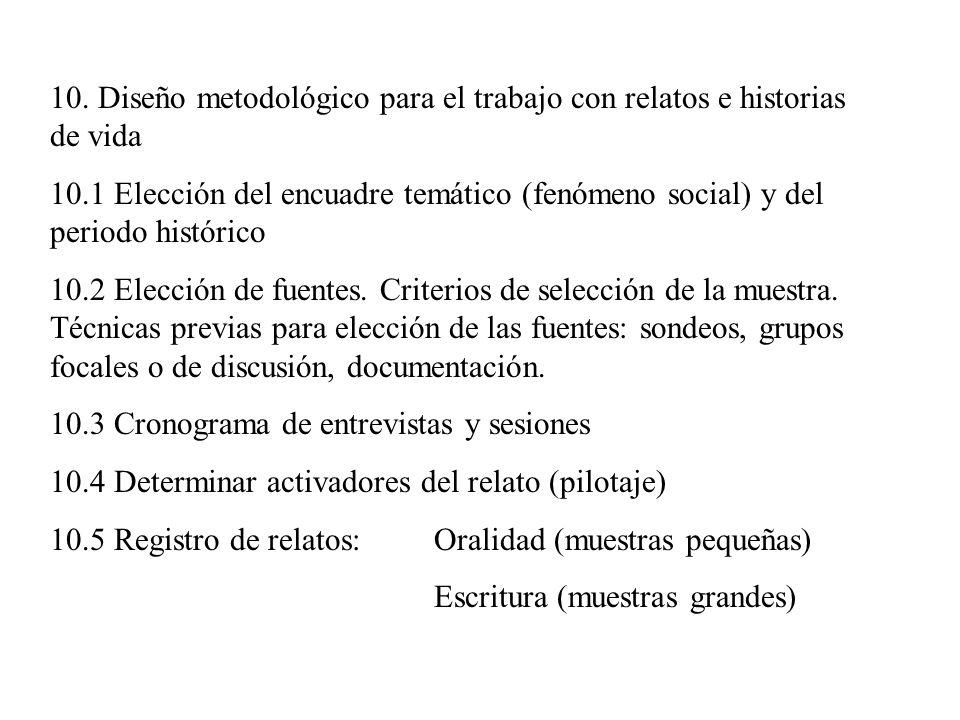 10. Diseño metodológico para el trabajo con relatos e historias de vida 10.1 Elección del encuadre temático (fenómeno social) y del periodo histórico