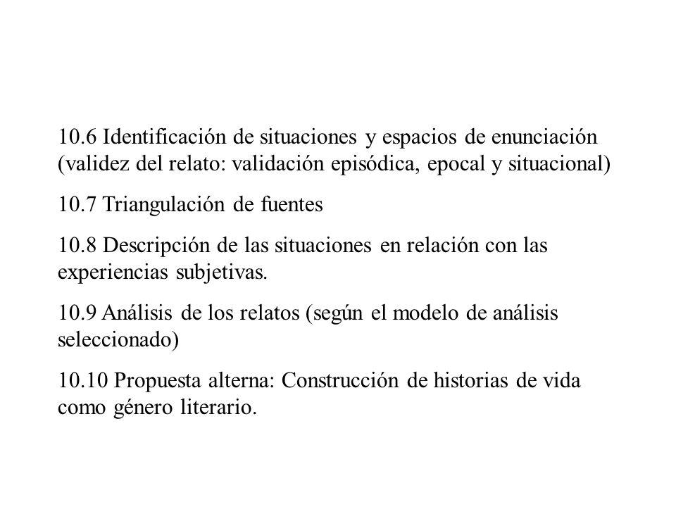 10.6 Identificación de situaciones y espacios de enunciación (validez del relato: validación episódica, epocal y situacional) 10.7 Triangulación de fu