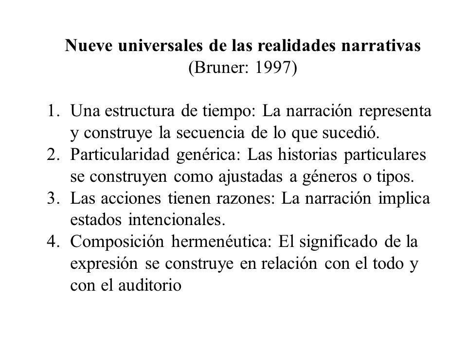 Nueve universales de las realidades narrativas (Bruner: 1997) 1.Una estructura de tiempo: La narración representa y construye la secuencia de lo que s