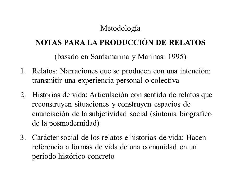 Metodología NOTAS PARA LA PRODUCCIÓN DE RELATOS (basado en Santamarina y Marinas: 1995) 1.Relatos: Narraciones que se producen con una intención: tran