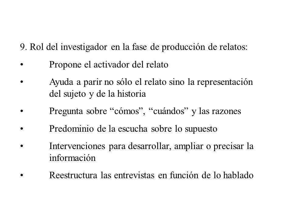 9. Rol del investigador en la fase de producción de relatos: Propone el activador del relato Ayuda a parir no sólo el relato sino la representación de
