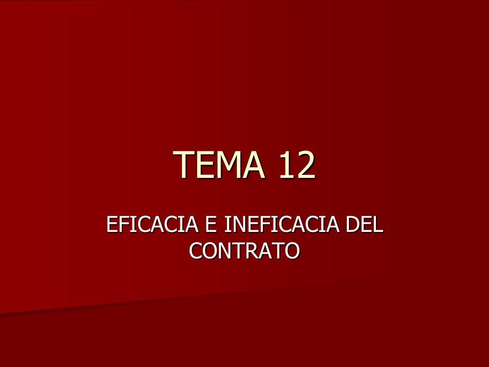 TEMA 12 EFICACIA E INEFICACIA DEL CONTRATO