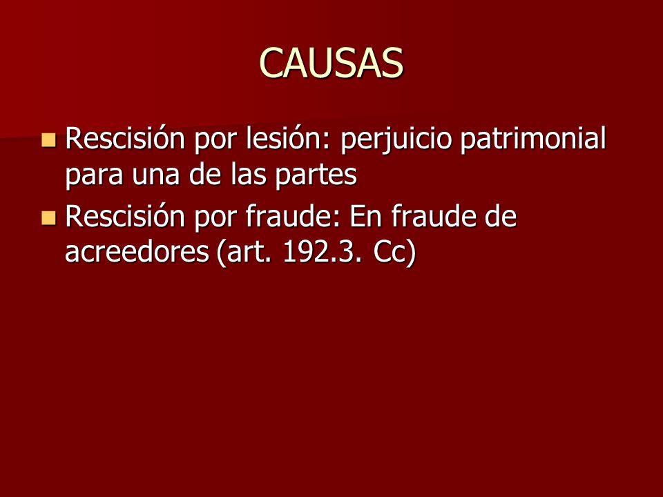 CAUSAS Rescisión por lesión: perjuicio patrimonial para una de las partes Rescisión por lesión: perjuicio patrimonial para una de las partes Rescisión