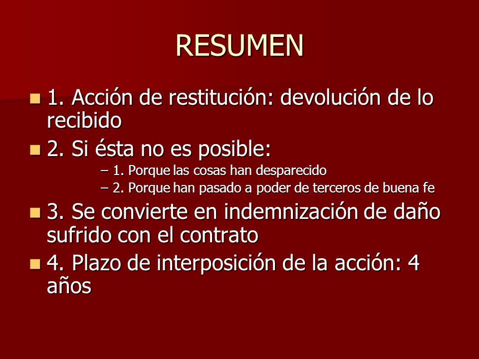 RESUMEN 1. Acción de restitución: devolución de lo recibido 1. Acción de restitución: devolución de lo recibido 2. Si ésta no es posible: 2. Si ésta n