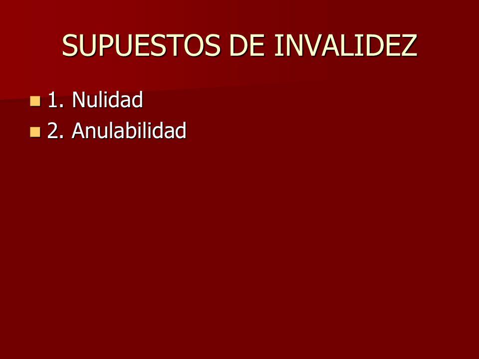 SUPUESTOS DE INVALIDEZ 1. Nulidad 1. Nulidad 2. Anulabilidad 2. Anulabilidad