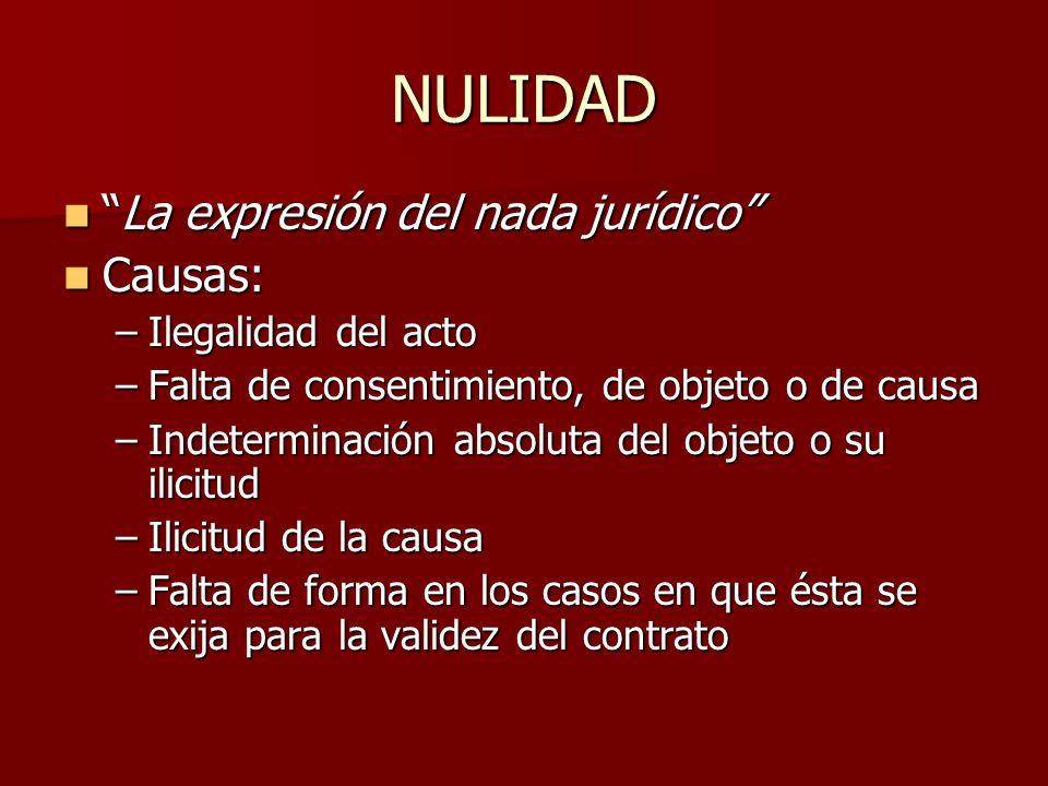 NULIDAD La expresión del nada jurídicoLa expresión del nada jurídico Causas: Causas: –Ilegalidad del acto –Falta de consentimiento, de objeto o de cau