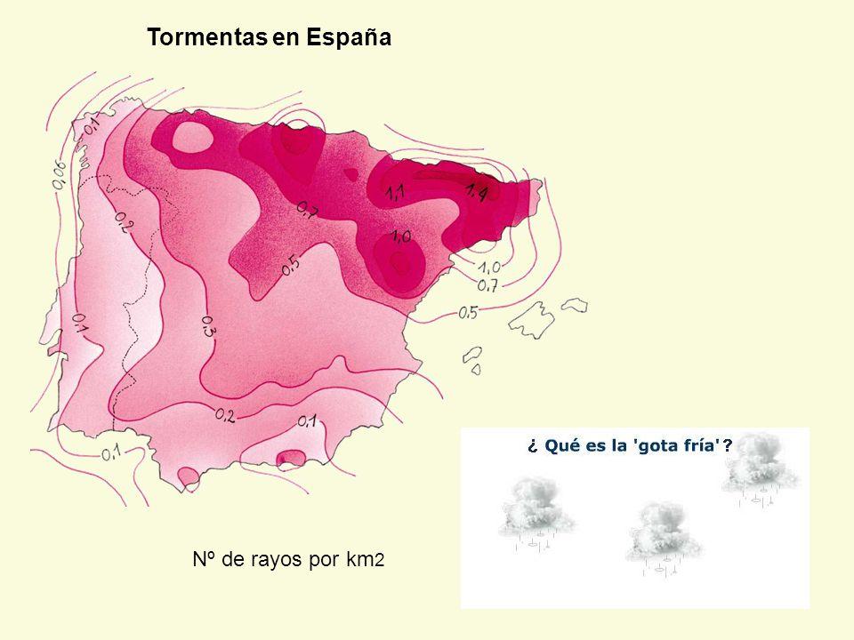 Tormentas en España Nº de rayos por km 2