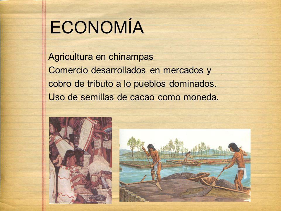 ECONOMÍA Agricultura en chinampas Comercio desarrollados en mercados y cobro de tributo a lo pueblos dominados. Uso de semillas de cacao como moneda.