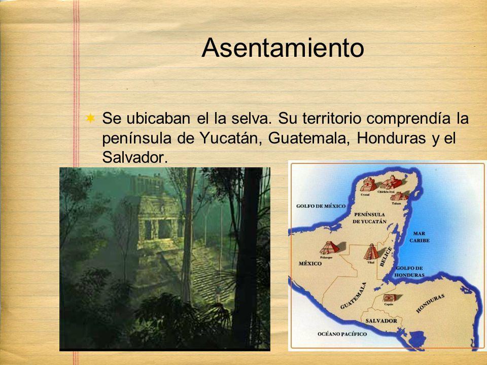 Asentamiento Se ubicaban el la selva. Su territorio comprendía la península de Yucatán, Guatemala, Honduras y el Salvador.