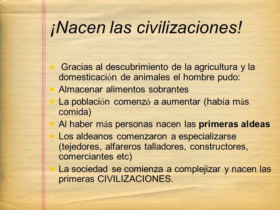 ¡Nacen las civilizaciones! Gracias al descubrimiento de la agricultura y la domesticaci ó n de animales el hombre pudo: Almacenar alimentos sobrantes