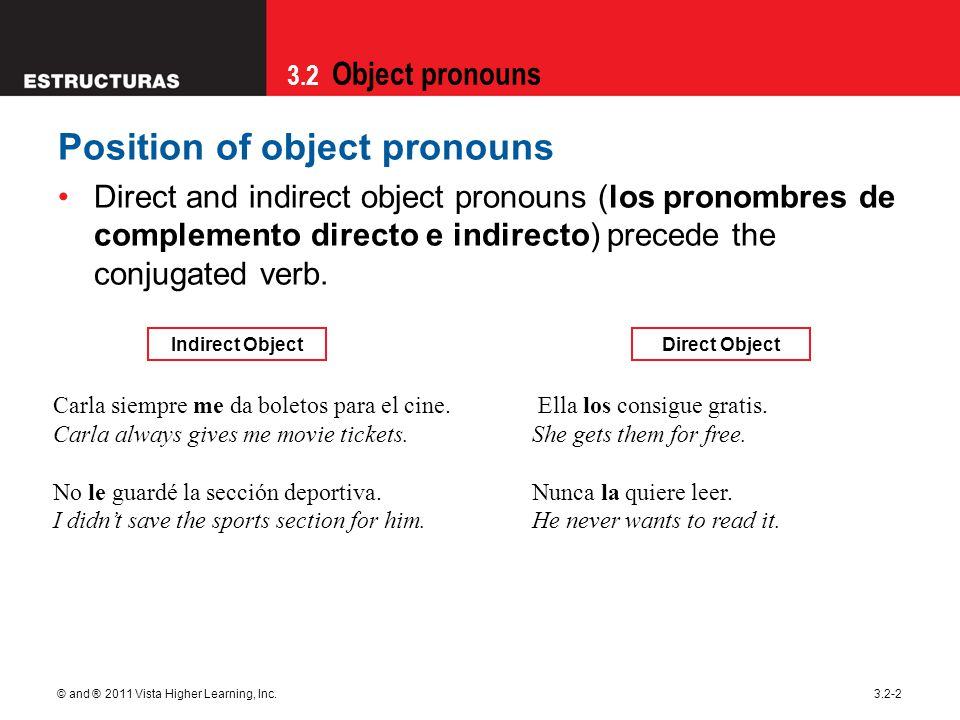 3.2 Object pronouns © and ® 2011 Vista Higher Learning, Inc.3.2-2 Position of object pronouns Direct and indirect object pronouns (los pronombres de complemento directo e indirecto) precede the conjugated verb.