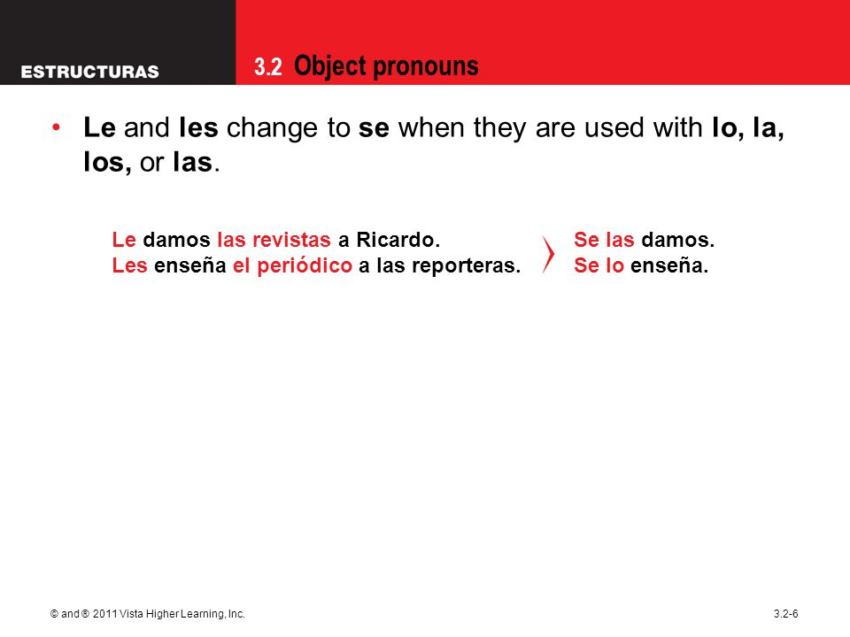 3.2 Object pronouns © and ® 2011 Vista Higher Learning, Inc.3.2-7 When object pronouns are attached to infinitives, participles, or commands, a written accent is often required to maintain proper word stress.