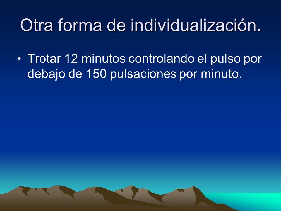 Otra forma de individualización. Trotar 12 minutos controlando el pulso por debajo de 150 pulsaciones por minuto.