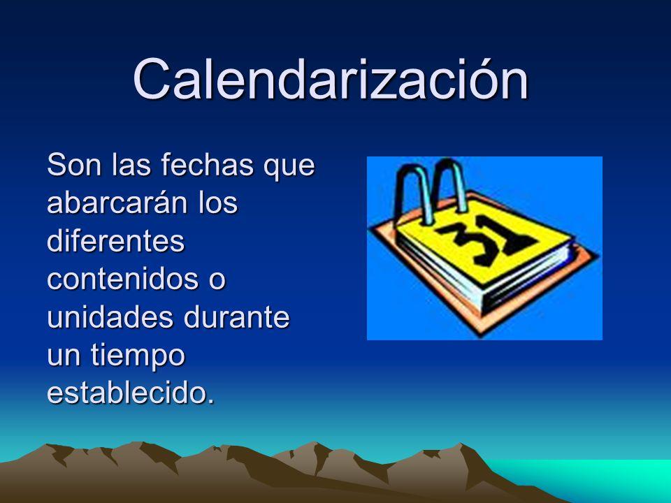 Son las fechas que abarcarán los diferentes contenidos o unidades durante un tiempo establecido. Calendarización