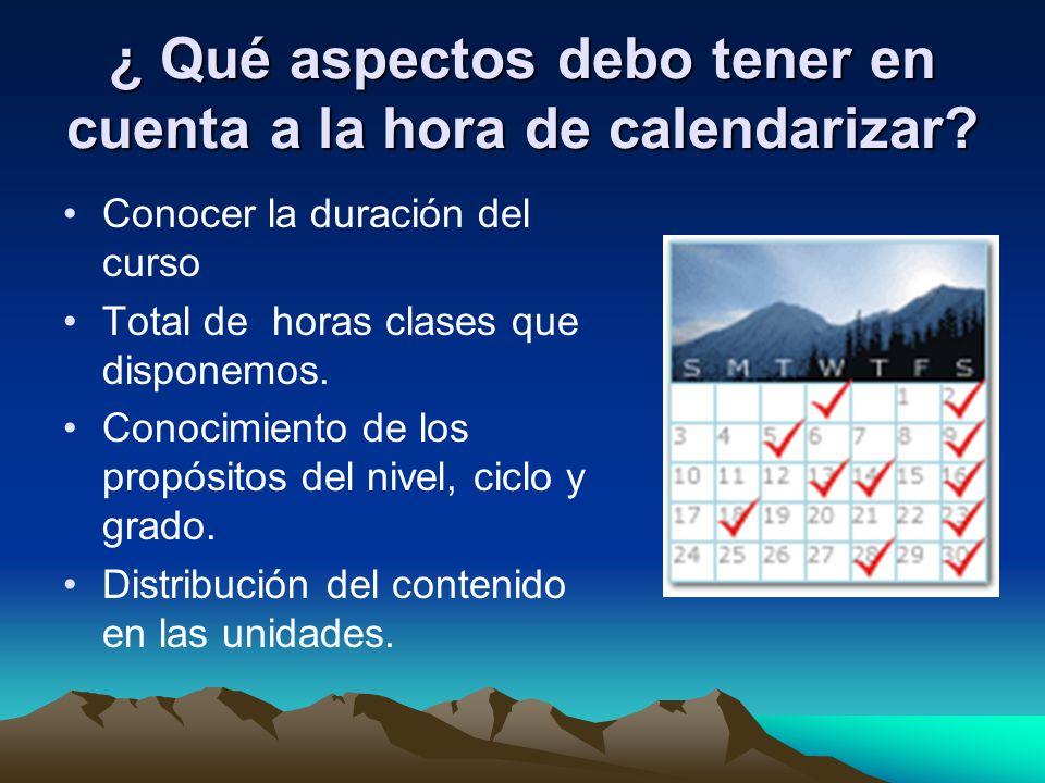 ¿ Qué aspectos debo tener en cuenta a la hora de calendarizar? Conocer la duración del curso Total de horas clases que disponemos. Conocimiento de los