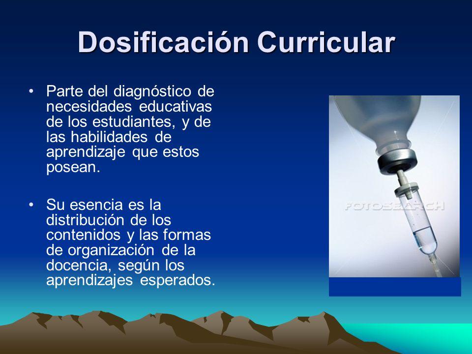 Dosificación Curricular Parte del diagnóstico de necesidades educativas de los estudiantes, y de las habilidades de aprendizaje que estos posean. Su e