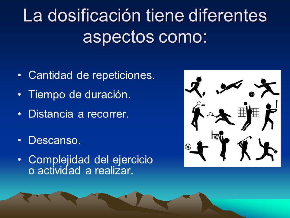La dosificación tiene diferentes aspectos como: Cantidad de repeticiones. Tiempo de duración. Distancia a recorrer. Descanso. Complejidad del ejercici
