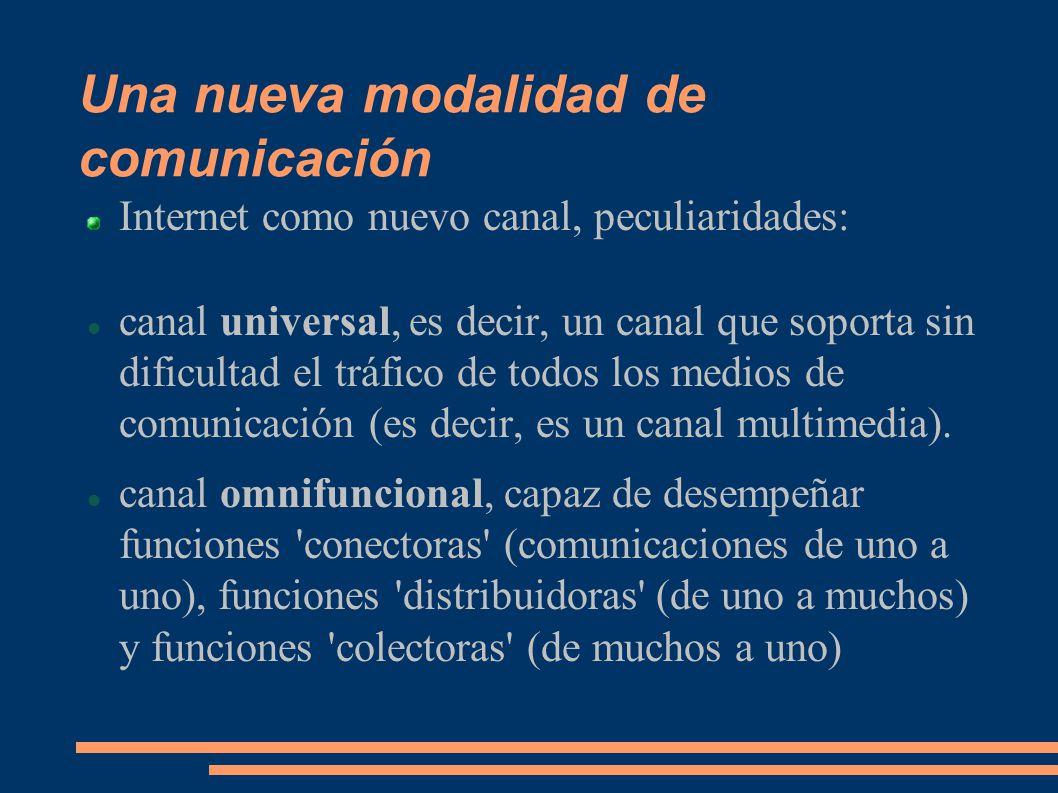 Una nueva modalidad de comunicación Internet como nuevo canal, peculiaridades: canal universal, es decir, un canal que soporta sin dificultad el tráfico de todos los medios de comunicación (es decir, es un canal multimedia).