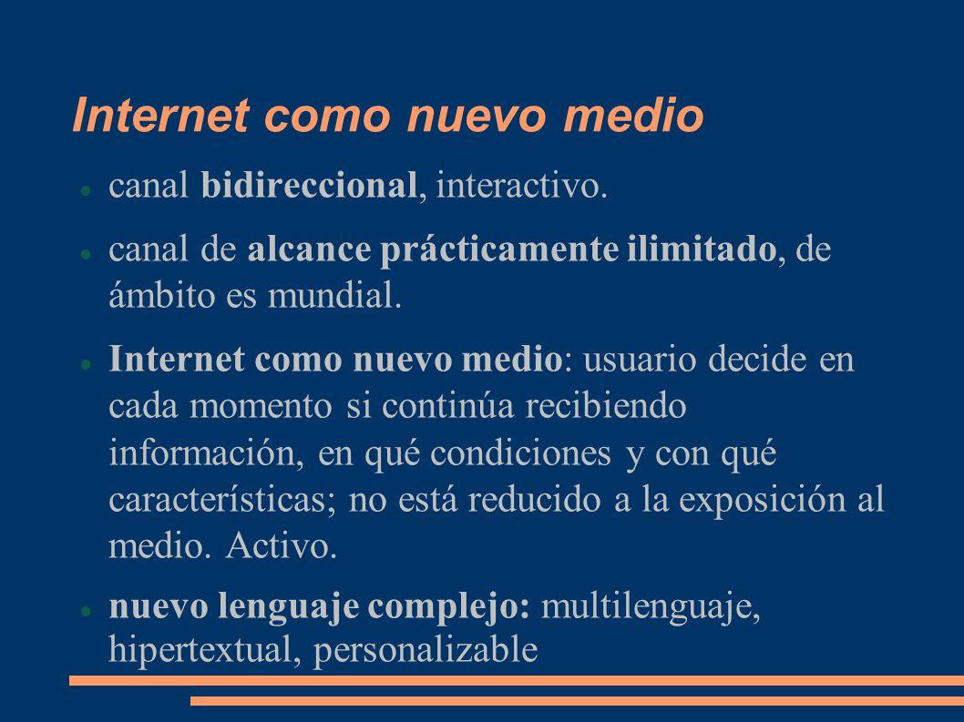 Internet como nuevo medio canal bidireccional, interactivo.