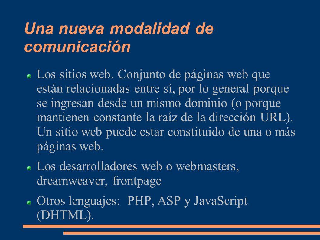 Una nueva modalidad de comunicación Los sitios web.