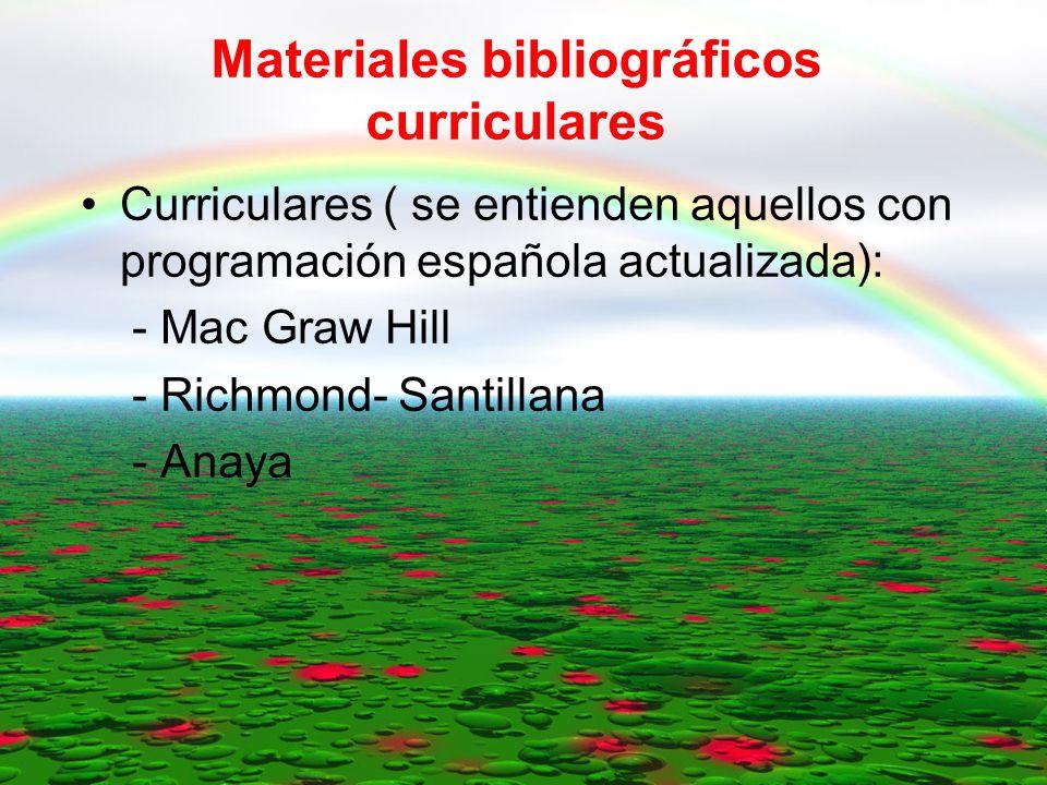 INDICE: Materiales bibliográficos curriculares Otros materiales y recursos bibliográficos.